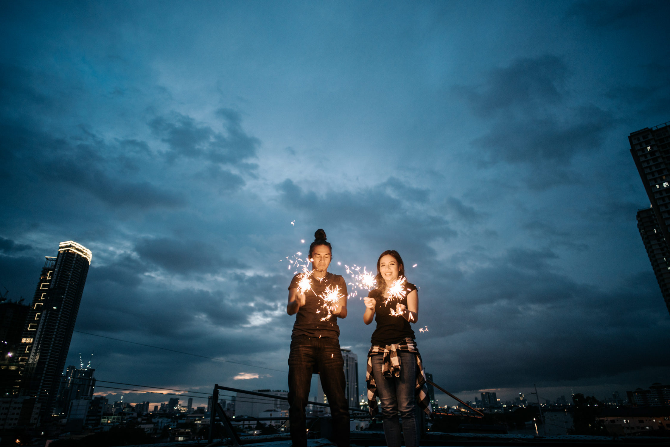 Oak St Studios Rooftop Engagement Session